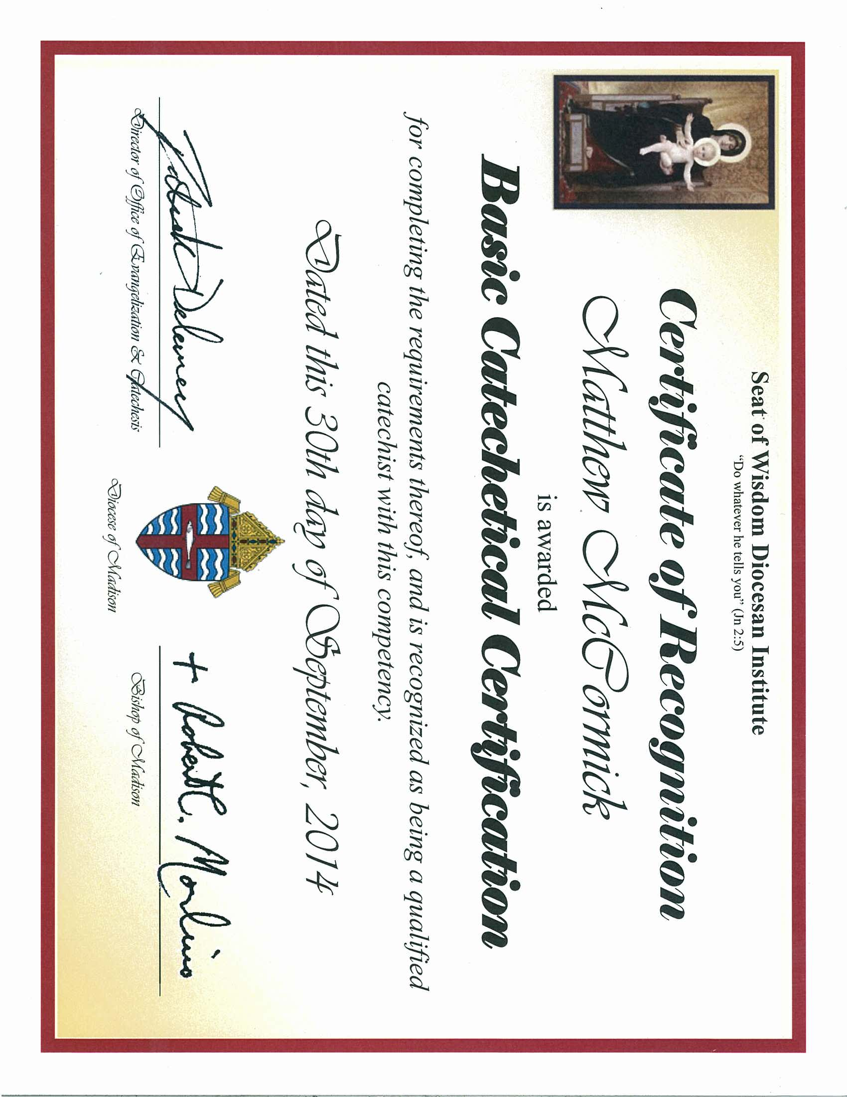 September 2014 adult catechesis christian religious literacy certificate basic catechetical diocese of madison 1betcityfo Gallery
