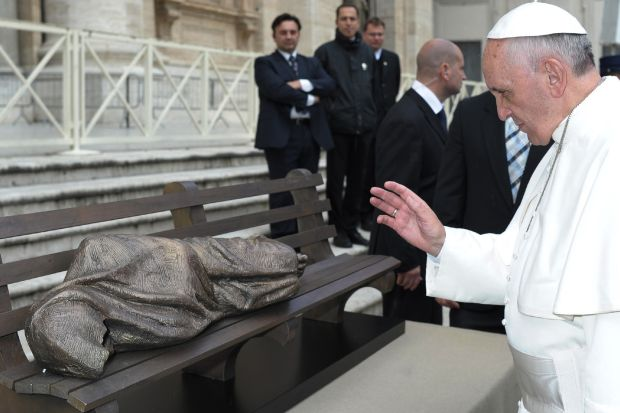 Pope Francis blesses 'Jesus the Homeless' sculpture during general audience in November