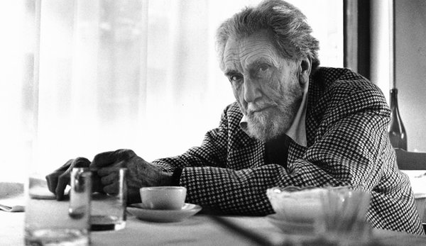 Ezra Pound. Circa 1967: portrait of american poet, editor and critic Ezra Pound (1885-1972) sitting at a restaurant table. (Photo by Horst Tappe/Hulton Archive/Getty Images.) Ezra pound