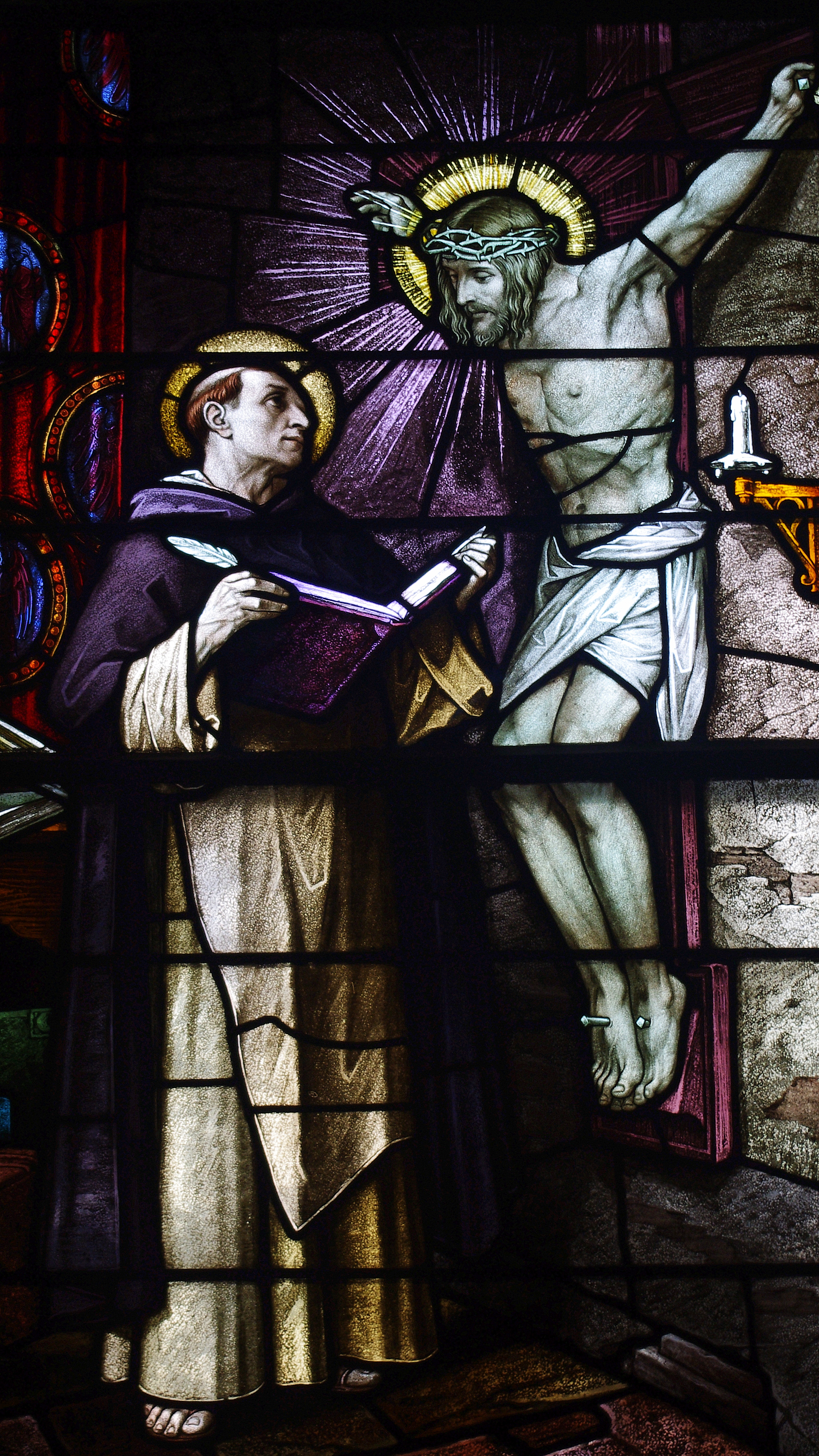 Saint_Patrick_Church_(Columbus,_Ohio)_-_stained_glass,_St._Thomas_Aquinas,_detail